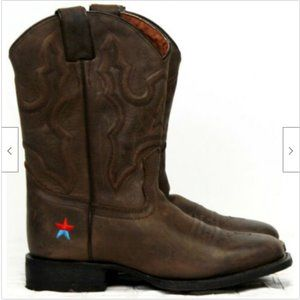 Brown Leather Cowboy Boots Western Sz 3 Red and Bl